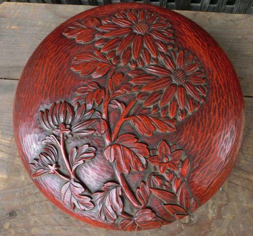 Antique Japanese Kamakura-bori Caligraphy Box