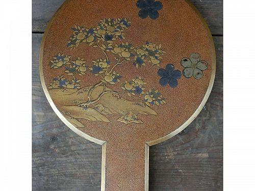Antique Japanese Meiji Period Maki-e Lacquered Miirror