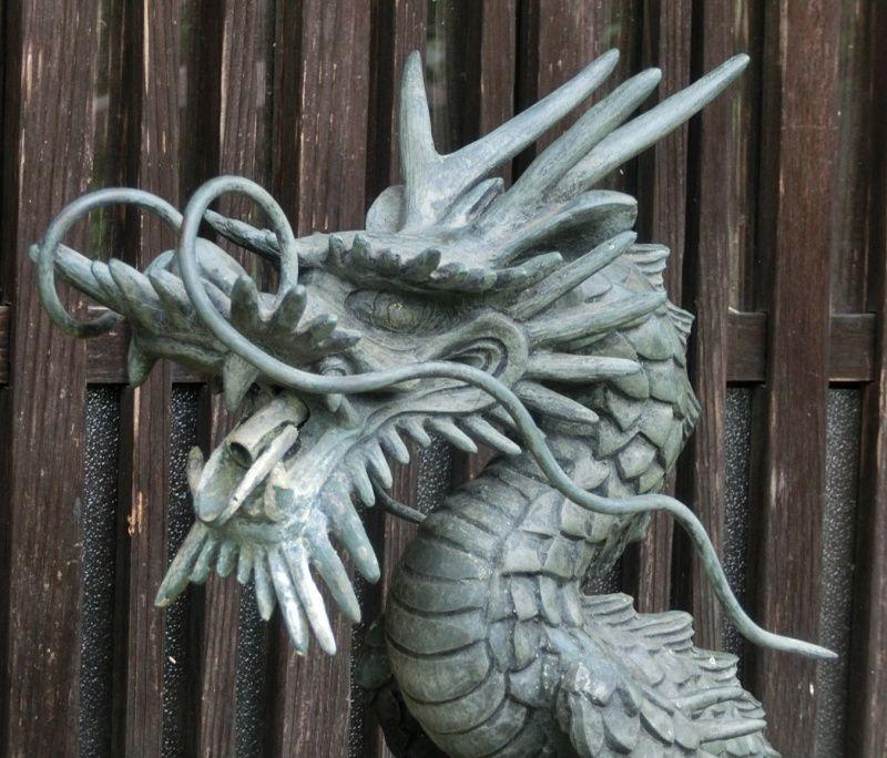 Antique Japanese Bronze Dragon Garden Water Spout