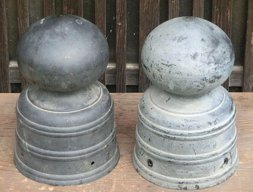 Antique Japanese Pair Bronze Giboshi Temple Post Tops