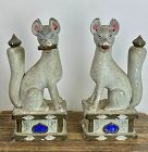 Antique Japanese Ceramic Inari Fox Pair, c.1910
