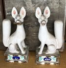 Antique Japanese Pair Inari Ceramic Inari Foxes