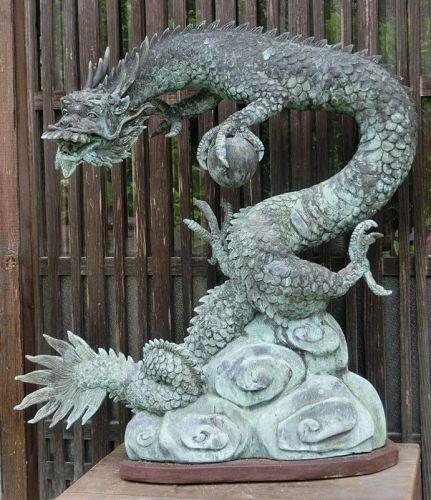 Antique Japanese Large Bronze Dragon Temple Water Spout