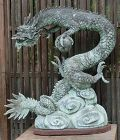 Antique Japanese Large Bronze Dragon Temple Water Spout