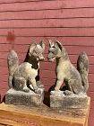 Antique Japanese Rare Pair Stone Inari Shrine Foxes