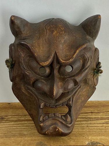 Antique  Japanese Hannya Mask from Noh Theater C.1930