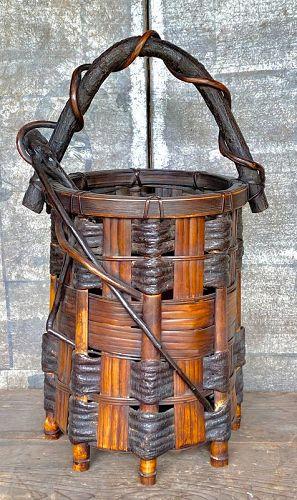 Antique Japanese Bamboo Wisteria Flower Basket