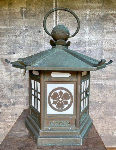 Antique Japanese Large Bronze Hanging Lantern