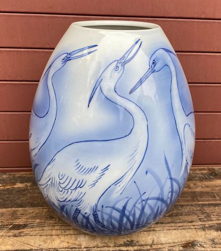 Japanese Antique Egret Porcelain Vase