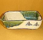 Rare Antique Japanese Edo Oribe Dish Set c.1830