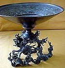 Rare Antique Japanese Bronze Wave Usubata c.1900