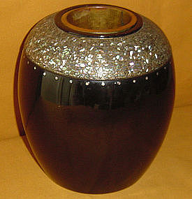 Luscious Japanese Antique Lacquered Vase c.1920