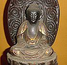 Antique Japanese Lacquered Nyorai Zen Buddha c.1885