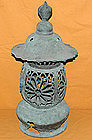 Antique Edo Period Buddhist Temple Bronze Lantern