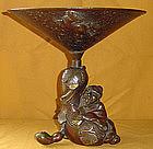 Museum-Quality Edo Bronze Utsubata Flower Vase c.1840