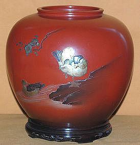 Vintage Japanese Bronze Flower Vase c.1930