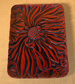 Japanese Antique Kamakurabori Red Lacquer Tray c.1900