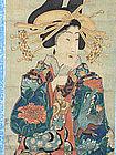 Japanese Antique Yoshitora Original Geisha Scroll