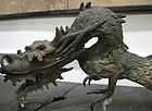 Important Antique Japanese Bronze Temple Dragon Spout