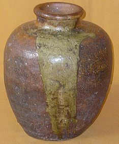Meiji Period Japanese Antique Shigaraki Storage Jar