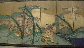 Exsquisite 6 Panel Antique Japanese Edo Screen