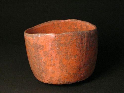 Red raku chawan created by Sadamitsu Sugimoto,the great master hand