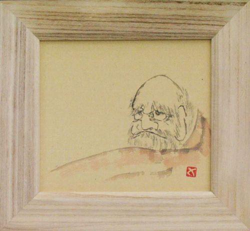 ZENGA ink-painting :Daruma by Sadamitsu Sugimoto the master hand