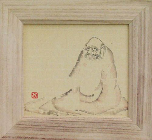 ZENGA ink paintings: Sitting Daruma by Sadamitsu Sugimoto, master hand