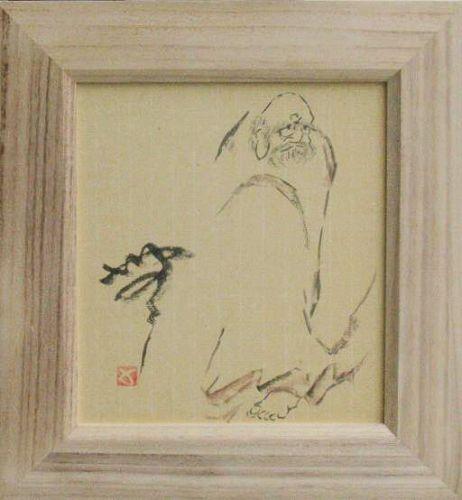 "ZENGA ink paintings: Daruma""Mu"" by Sadamitsu Sugimoto, master hand"
