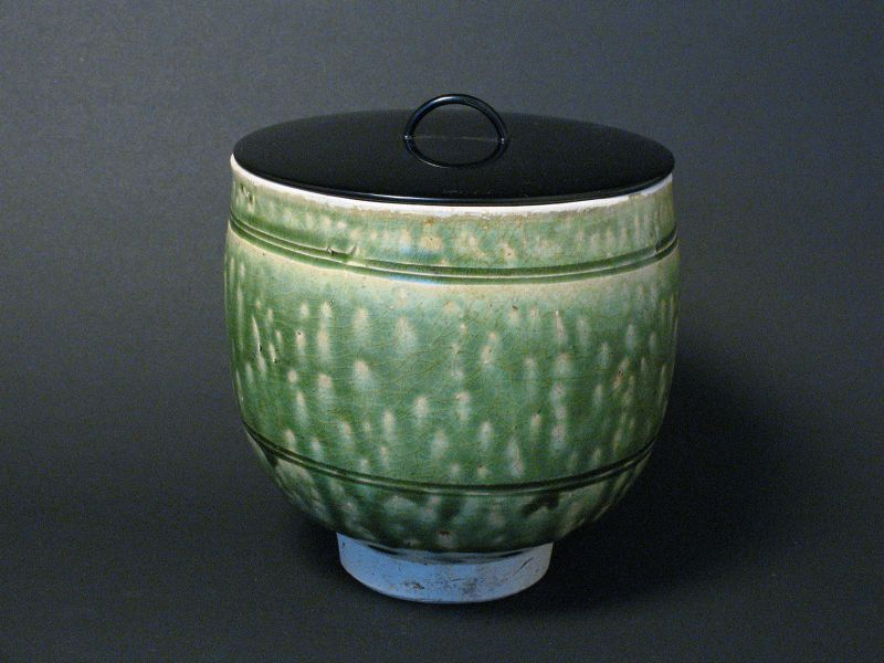 14~15th Century Annamese green glaze small jar as Mizusashi
