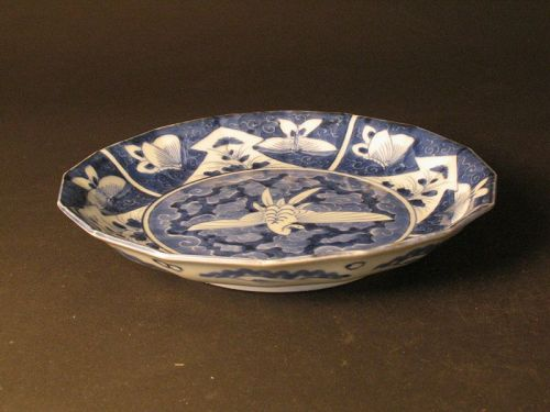 Ko-Imari blue and white plate with flowers birds pattern