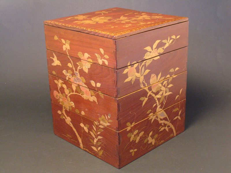 """Vintage """"MAKIE""""Japanese Gold lacquer nest of boxes"""