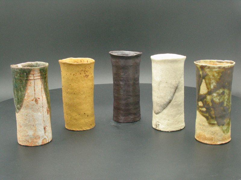 4 types of glaze cups by Sadamitsu Sugimoto Japanese great master