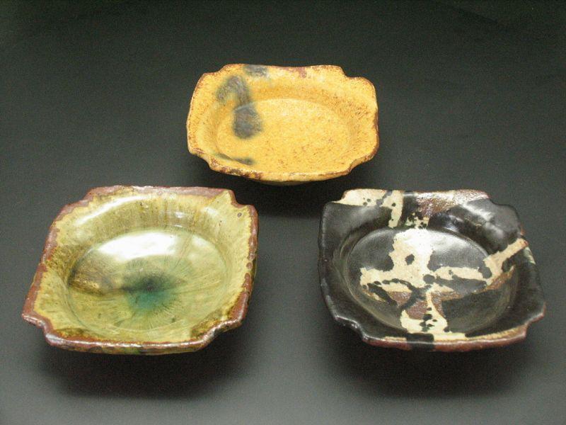 3 types of small shallow bowl by Junri Hamada Expert at Mino pottery