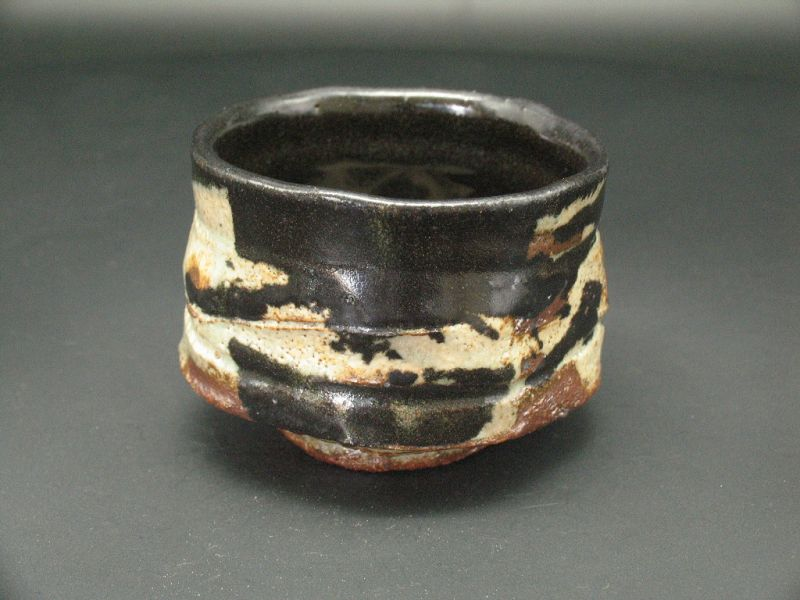 Kuro-Oribe small tea cup Chawan by Junri Hamada Expert at Mino Pottery