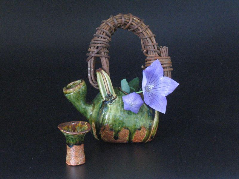 Oribe Strange Pot for Vase by Junri Hamada expert in Mino pottery