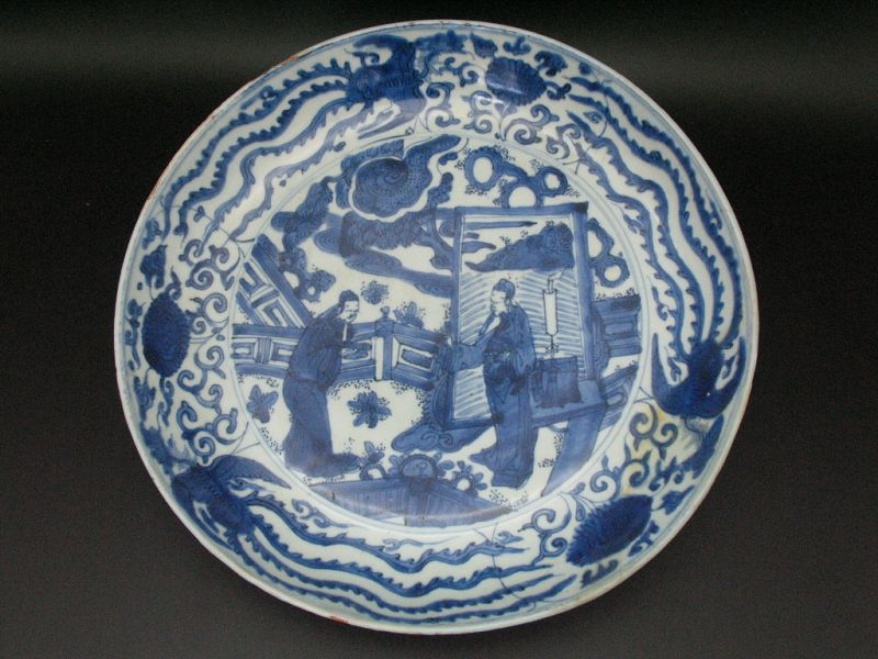 16th century Ming Jiajing(��� blue & white Tale picture Large plate