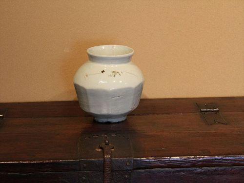 18th century Joseon white porcelain chamfered vase painted iron glaze