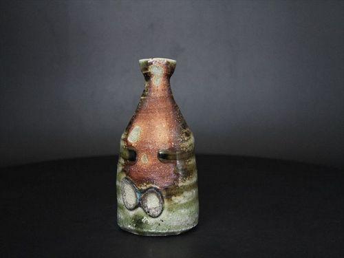 Karatsu ashes covered sake bottle  by popular potter Dohei Fujinoki