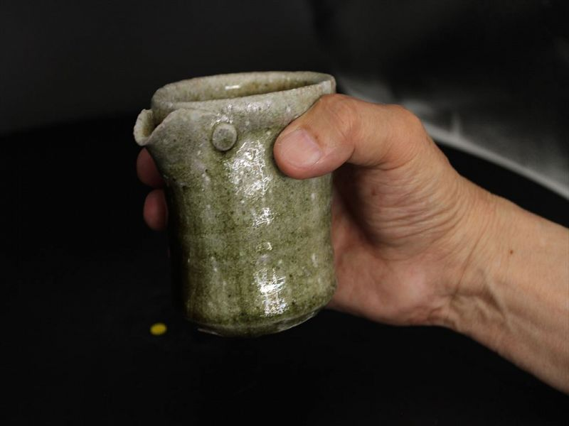 Karatsu ashes covered sake server  by popular potter Dohei Fujinoki