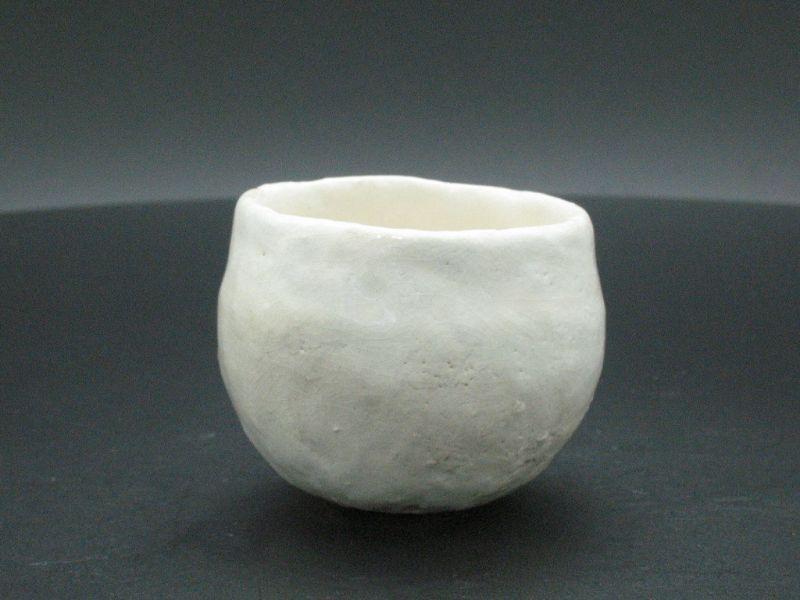 White raku guinomi sake cup by the Great master Sadamitsu Sugimoto