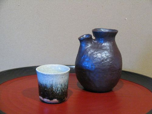 Special price Great master Sadamitsu Sugimoto Black glaze sake sever