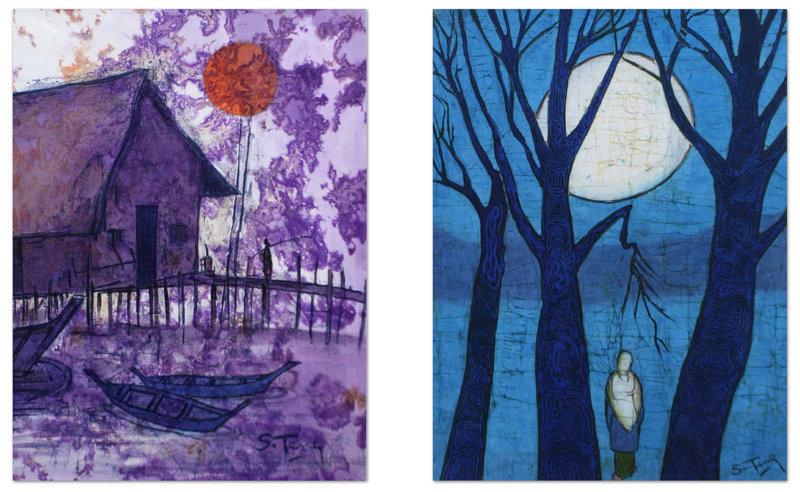 Rare Pair of Batik, Sun and Moon by Chuah Siew Teng