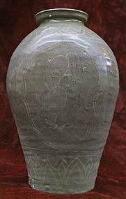 13th C. Inlaid Celadon Vase with Willow Trees and Reeds