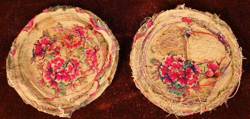 Oldest Korean Embroidery, Fine Pillow Ends w/ Peonies and Butterflies