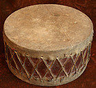 Antique Traditional Korean Bass Drum of Wood and Animal Hide