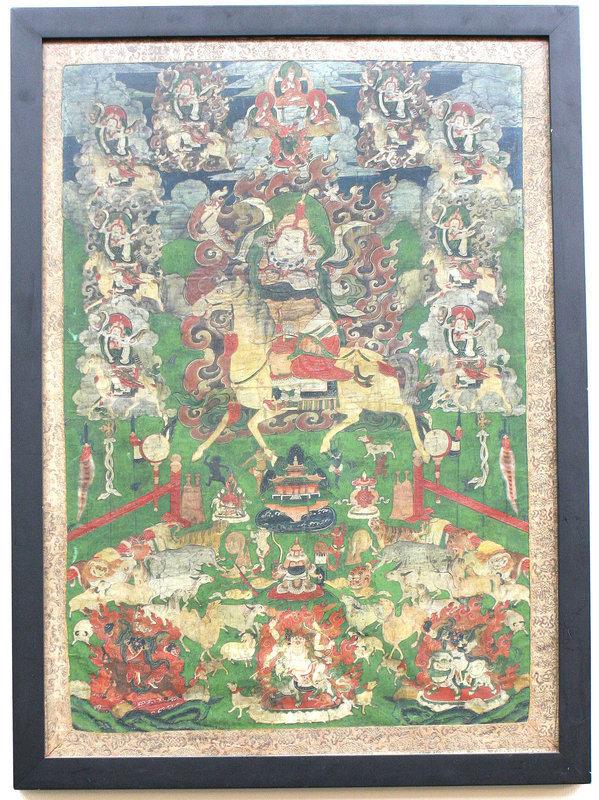 18th Century Mongolian Thangka of a Guardian Deity