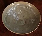 14th Century Celadon Bowl with Inlaid Chrysanthemums