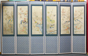19th Century Hwajodo Bird and Flower Screen Painting