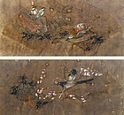 Rare Pair of 19th Century Bird and Flower Fan Paintings